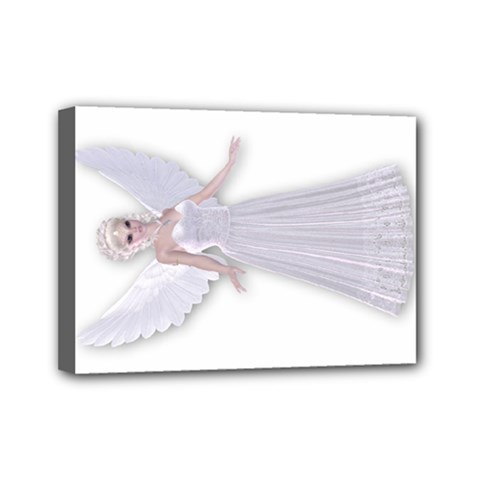 White Fairy Faerie Nymph Mini Canvas 7  X 5  (framed)