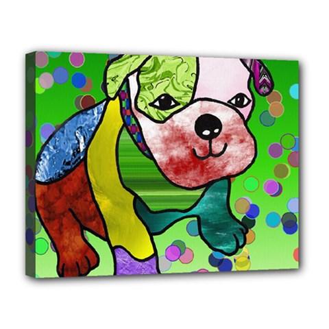 Pug Canvas 14  x 11  (Framed)