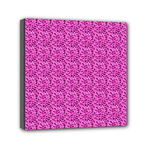 Leopard Print Mini Canvas 6  x 6  (Framed)