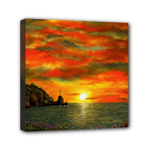 Alyssa s Sunset By Ave Hurley Artrevu   Mini Canvas 6  X 6  (stretched)