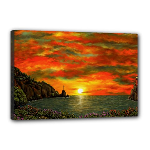 Alyssa s Sunset by Ave Hurley ArtRevu - Canvas 18  x 12  (Stretched)