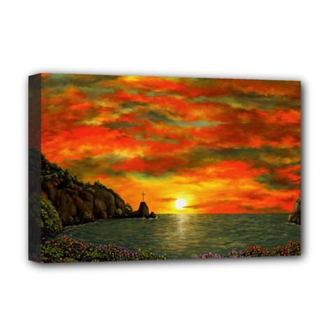 Alyssa s Sunset By Ave Hurley Artrevu   Deluxe Canvas 18  X 12  (stretched)