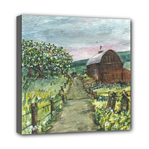 Amish Apple Blossoms  by Ave Hurley of ArtRevu ~ Mini Canvas 8  x 8  (Stretched)