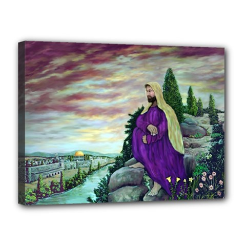 Jesus Overlooking Jerusalem - Ave Hurley - ArtRave - Canvas 16  x 12  (Framed)