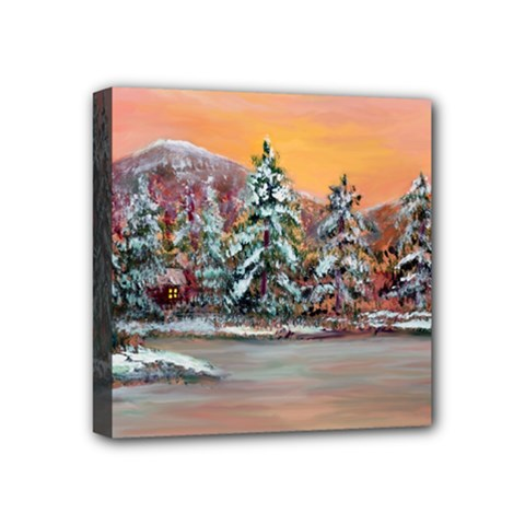 Jane s Winter Sunset   by Ave Hurley of ArtRevu ~ Mini Canvas 4  x 4  (Stretched)