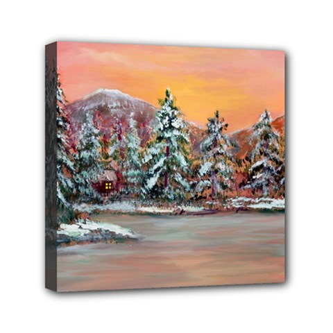 Jane s Winter Sunset   by Ave Hurley of ArtRevu ~ Mini Canvas 6  x 6  (Stretched)