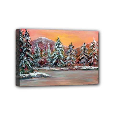 Jane s Winter Sunset   by Ave Hurley of ArtRevu ~ Mini Canvas 6  x 4  (Stretched)