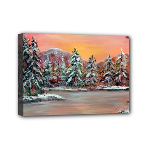 Jane s Winter Sunset   by Ave Hurley of ArtRevu ~ Mini Canvas 7  x 5  (Stretched)