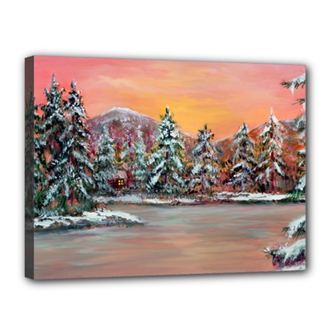 Jane s Winter Sunset   by Ave Hurley of ArtRevu ~ Canvas 16  x 12  (Stretched)