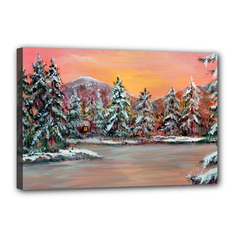 jane s Winter Sunset   By Ave Hurley Of Artrevu   Canvas 18  X 12  (stretched)