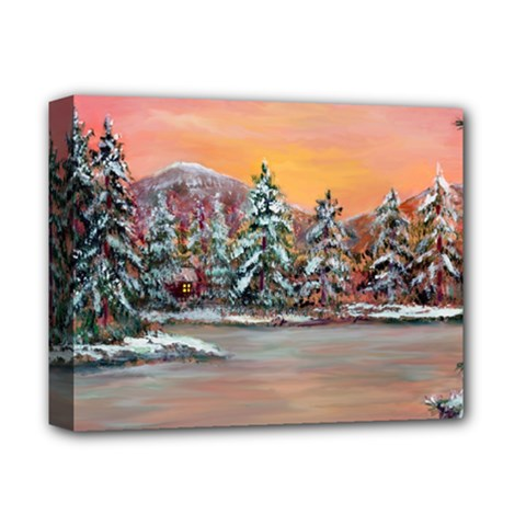 Jane s Winter Sunset   by Ave Hurley of ArtRevu ~ Deluxe Canvas 14  x 11  (Stretched)