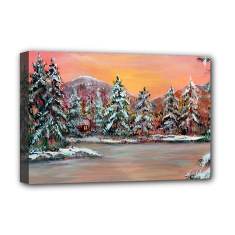 Jane s Winter Sunset   by Ave Hurley of ArtRevu ~ Deluxe Canvas 18  x 12  (Stretched)