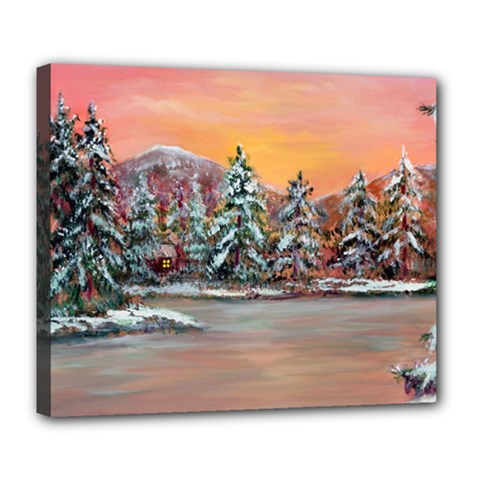 Jane s Winter Sunset   by Ave Hurley of ArtRevu ~ Deluxe Canvas 24  x 20  (Stretched)