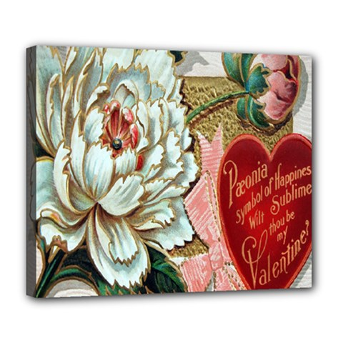 Victorian Valentine Card Deluxe Canvas 24  x 20  (Framed)