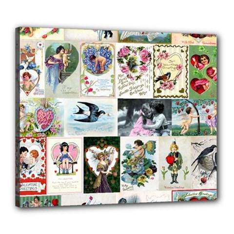 Vintage Valentine Cards Canvas 24  x 20  (Framed)