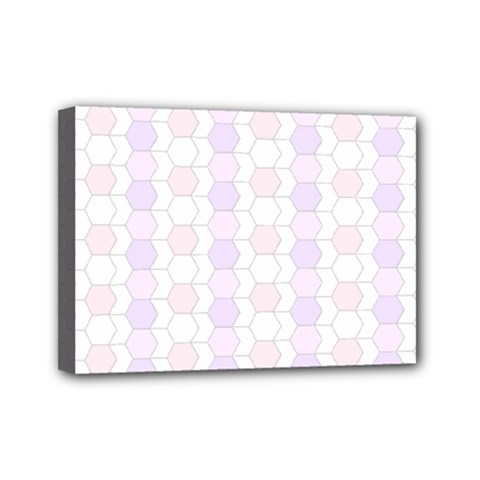 Allover Graphic Soft Pink Mini Canvas 7  x 5  (Framed)
