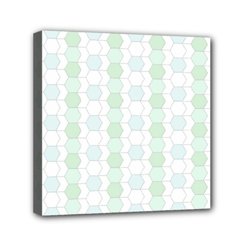 Allover Graphic Soft Aqua Mini Canvas 6  x 6  (Framed)