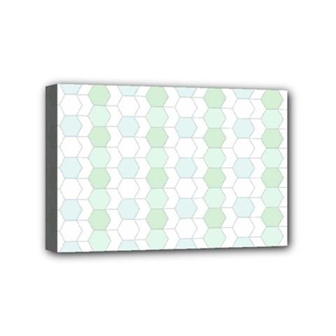 Allover Graphic Soft Aqua Mini Canvas 6  x 4  (Framed)