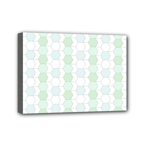 Allover Graphic Soft Aqua Mini Canvas 7  x 5  (Framed)