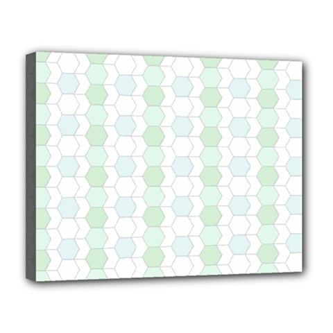 Allover Graphic Soft Aqua Canvas 14  X 11  (framed)