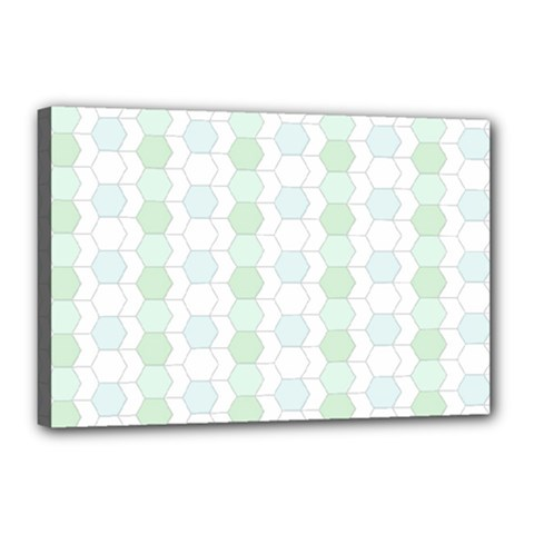 Allover Graphic Soft Aqua Canvas 18  X 12  (framed)