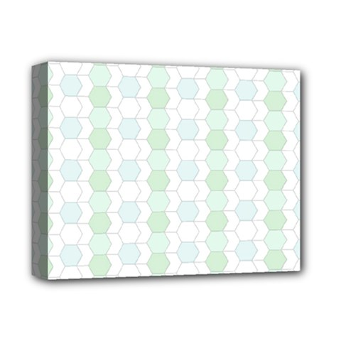 Allover Graphic Soft Aqua Deluxe Canvas 14  x 11  (Framed)