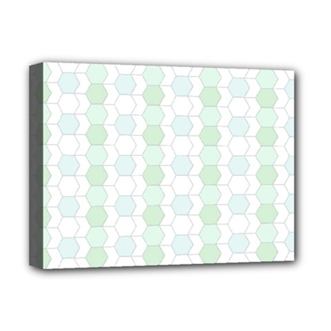 Allover Graphic Soft Aqua Deluxe Canvas 16  X 12  (framed)
