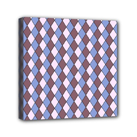 Allover Graphic Blue Brown Mini Canvas 6  x 6  (Framed)