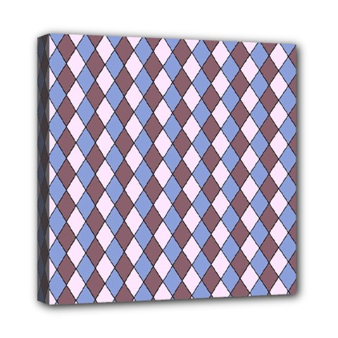 Allover Graphic Blue Brown Mini Canvas 8  X 8  (framed)