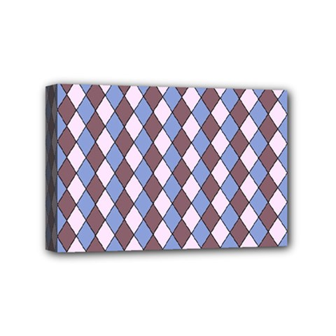 Allover Graphic Blue Brown Mini Canvas 6  x 4  (Framed)