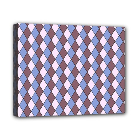 Allover Graphic Blue Brown Canvas 10  X 8  (framed)