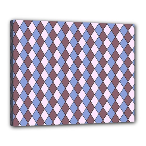 Allover Graphic Blue Brown Canvas 20  x 16  (Framed)