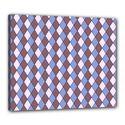 Allover Graphic Blue Brown Canvas 24  x 20  (Framed)