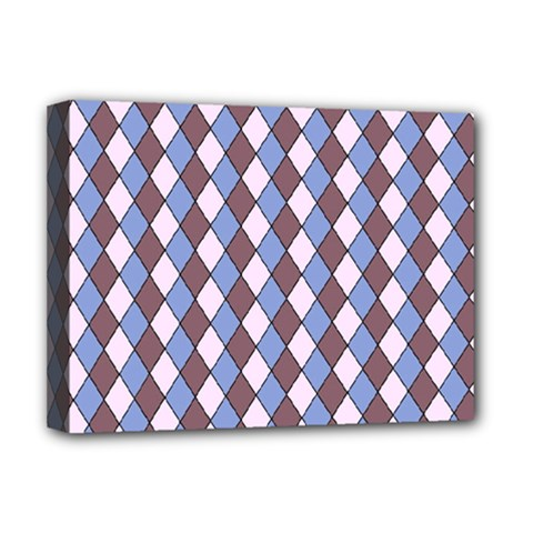 Allover Graphic Blue Brown Deluxe Canvas 16  x 12  (Framed)