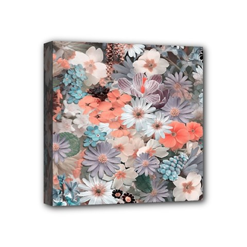 Spring Flowers Mini Canvas 4  x 4  (Framed)