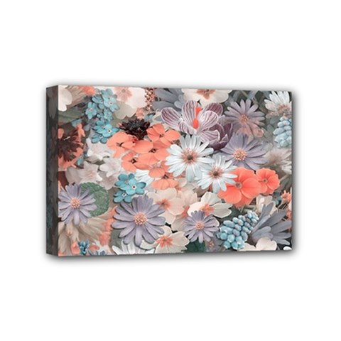 Spring Flowers Mini Canvas 6  x 4  (Framed)