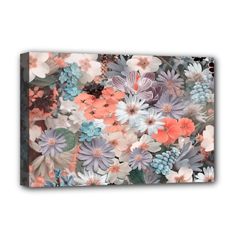 Spring Flowers Deluxe Canvas 18  X 12  (framed)