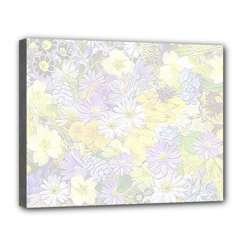 Spring Flowers Soft Canvas 14  x 11  (Framed)