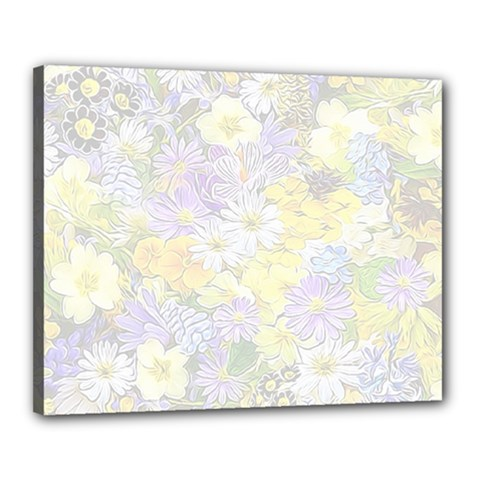 Spring Flowers Soft Canvas 20  X 16  (framed)
