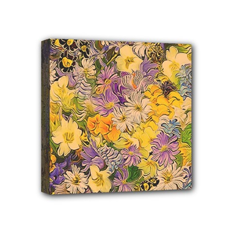 Spring Flowers Effect Mini Canvas 4  x 4  (Framed)