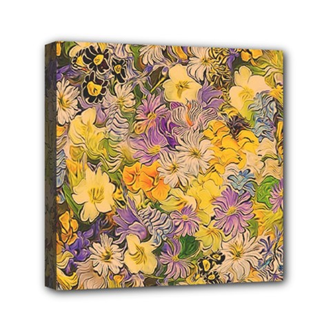 Spring Flowers Effect Mini Canvas 6  X 6  (framed)