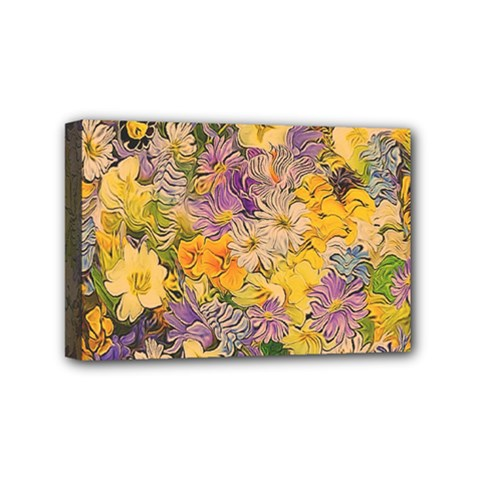 Spring Flowers Effect Mini Canvas 6  x 4  (Framed)