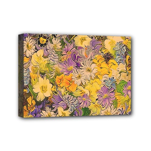 Spring Flowers Effect Mini Canvas 7  x 5  (Framed)