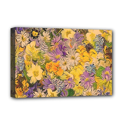Spring Flowers Effect Deluxe Canvas 18  x 12  (Framed)