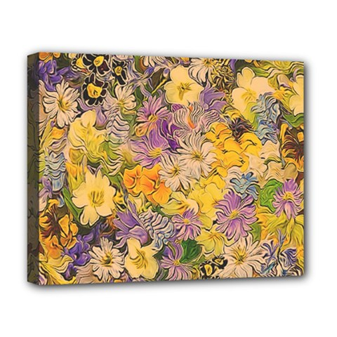 Spring Flowers Effect Deluxe Canvas 20  X 16  (framed)