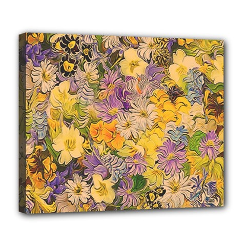 Spring Flowers Effect Deluxe Canvas 24  X 20  (framed)