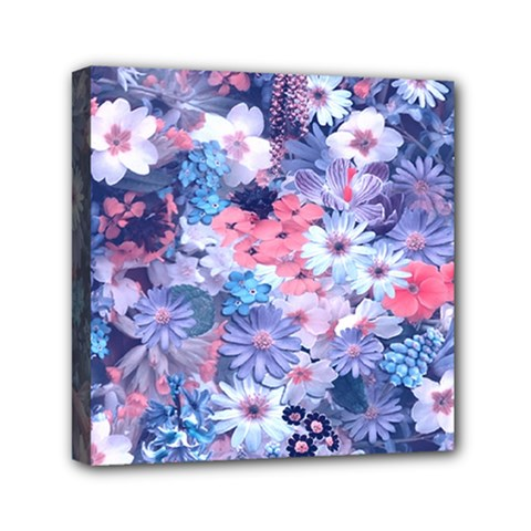 Spring Flowers Blue Mini Canvas 6  X 6  (framed)