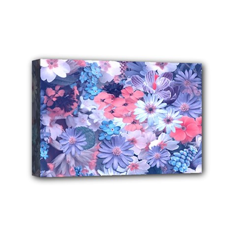 Spring Flowers Blue Mini Canvas 6  X 4  (framed)