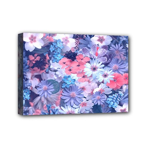 Spring Flowers Blue Mini Canvas 7  x 5  (Framed)