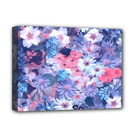 Spring Flowers Blue Deluxe Canvas 16  x 12  (Framed)